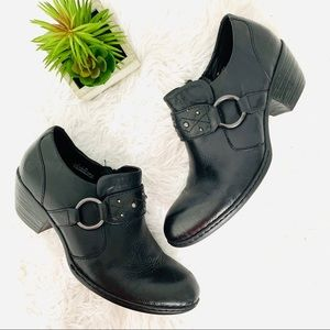 boc black leather ankle booties size 8